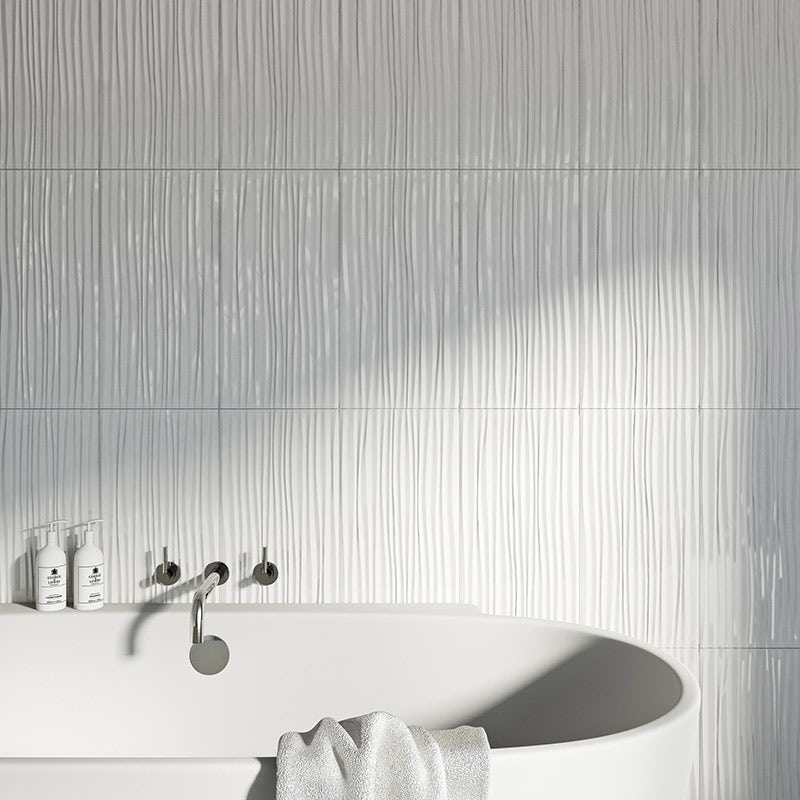 Pure white wave gloss tile 248mm x 498mm