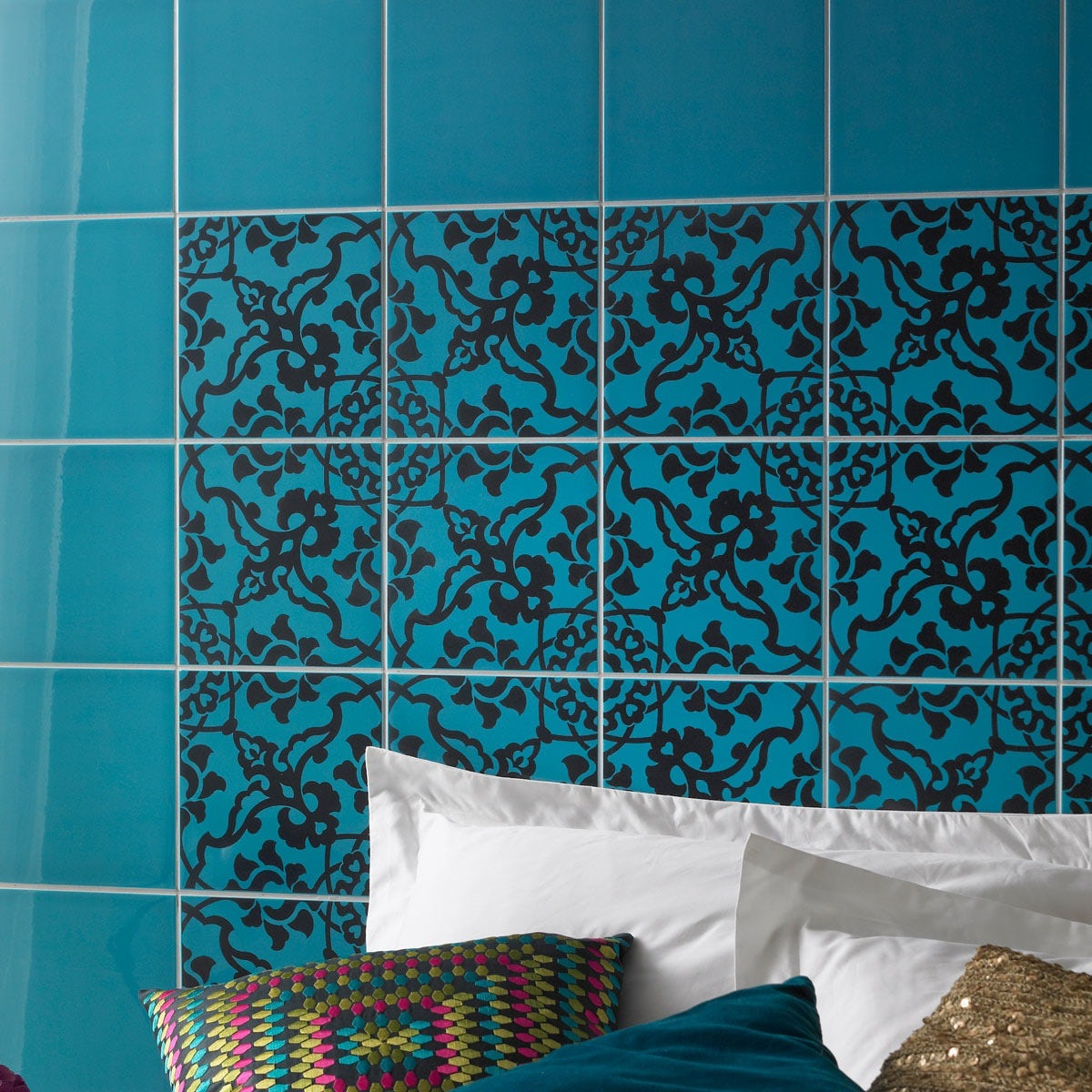 V&A turquoise gloss tiles 198mm x 198mm