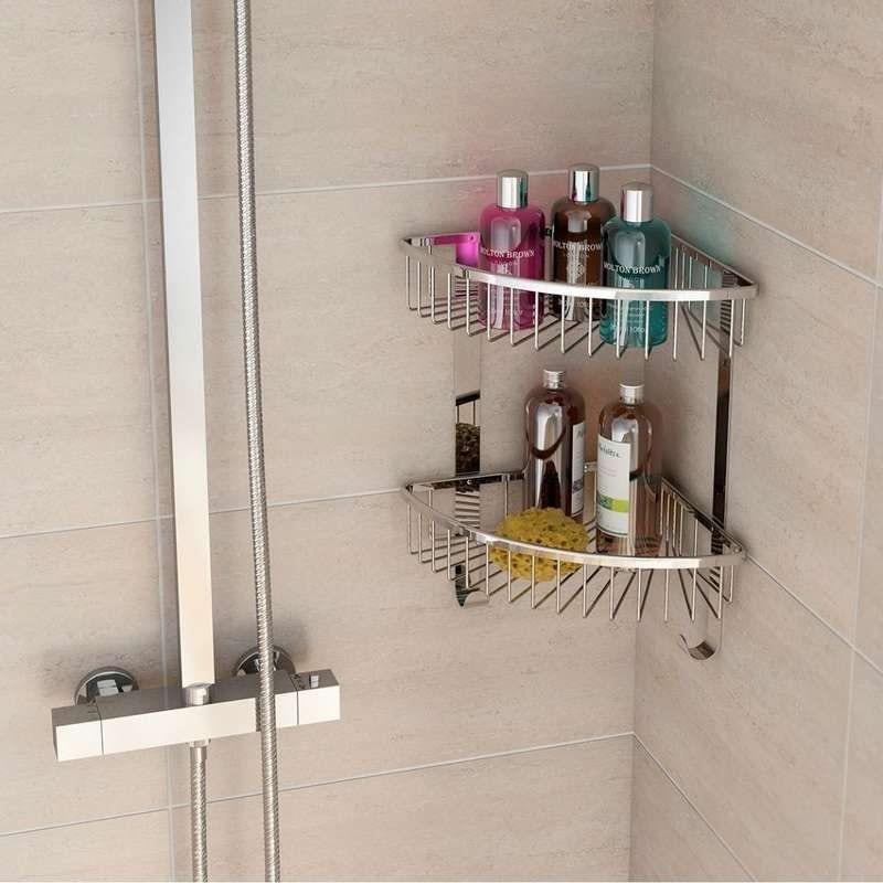 Options brass double triangular shower caddy