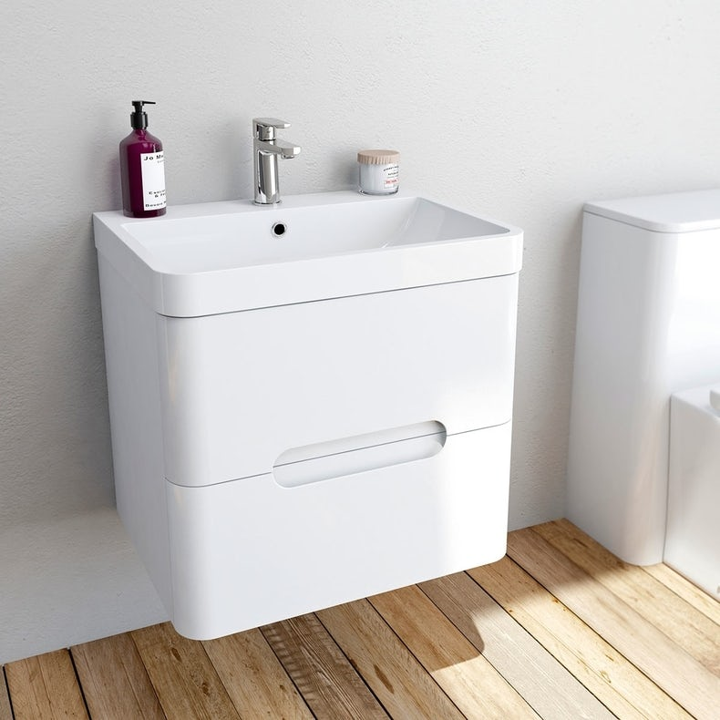 Planet white wall hung vanity drawer unit and basin 600mm
