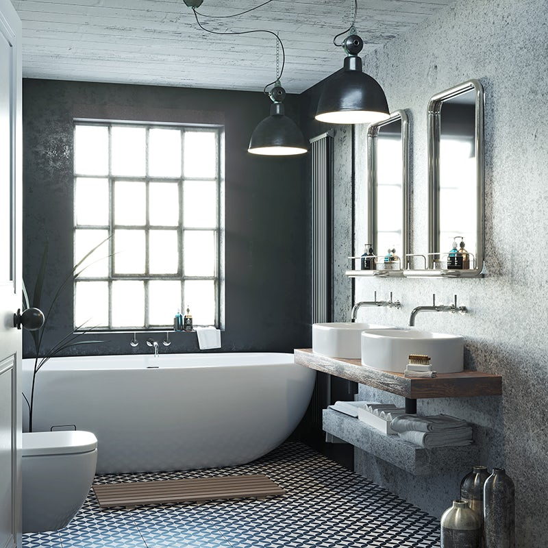 Soft Industrial average-sized bathroom