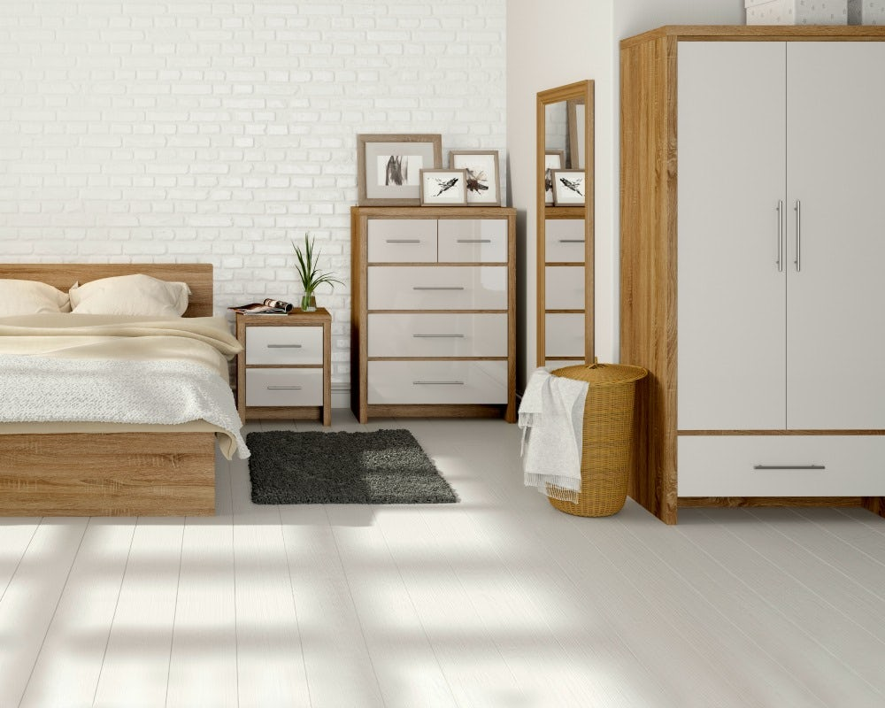 Oak and white gloss bedroom furniture