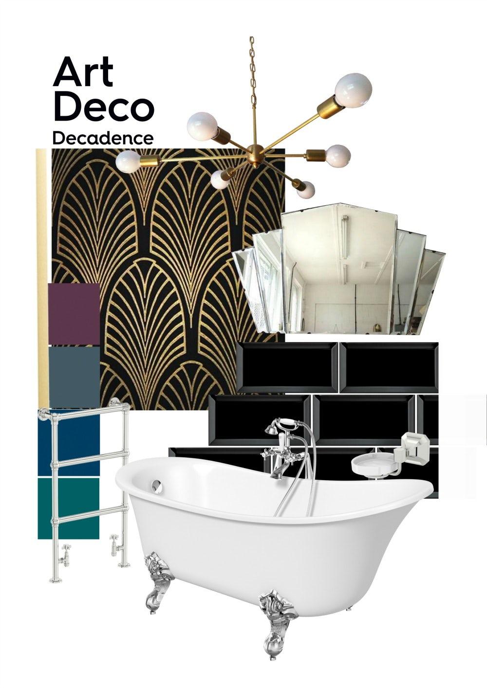 Art deco bathroom mood board