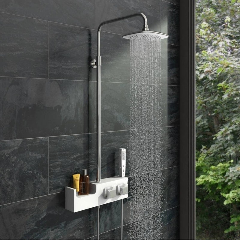Orchard Chime white shower riser rail kit with shelf