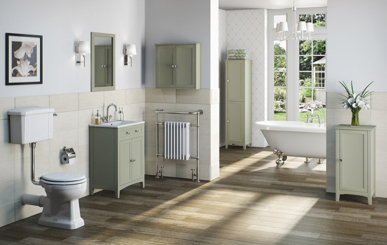 Newbury Traditional Back To Wall Roll Top Bath Suite At: Traditional Bathroom Inspiration