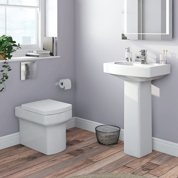 Wye back to wall toilet and full pedestal basin suite