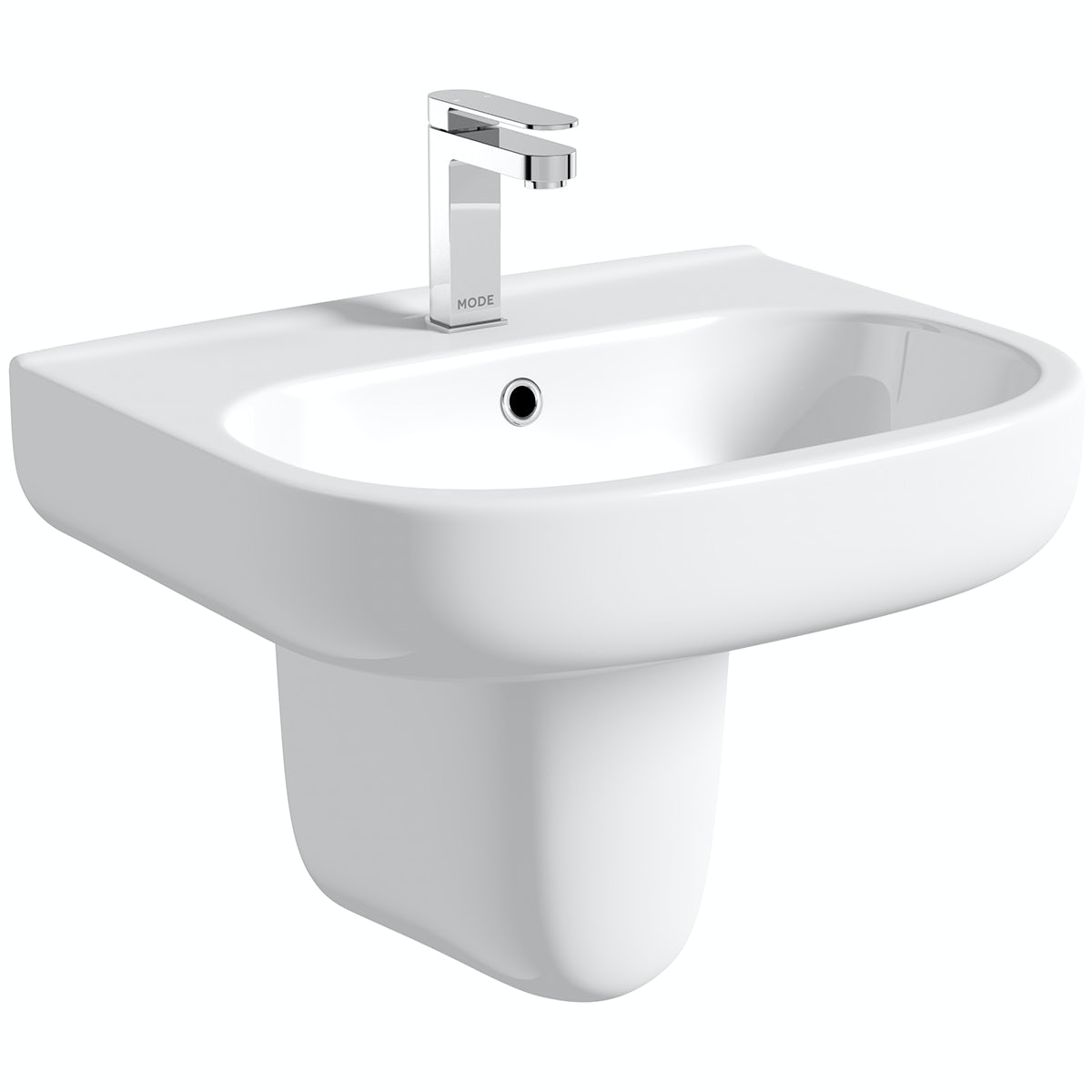 Mode Burton semi pedestal basin 550mm with waste