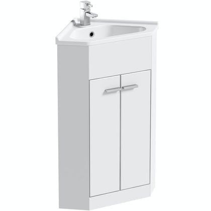 Clarity Compact white corner vanity unit