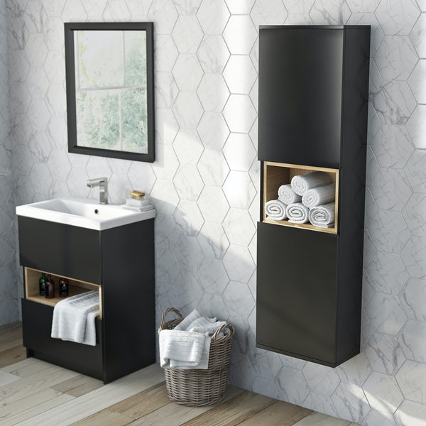 Tate anthracite & oak wall cabinet