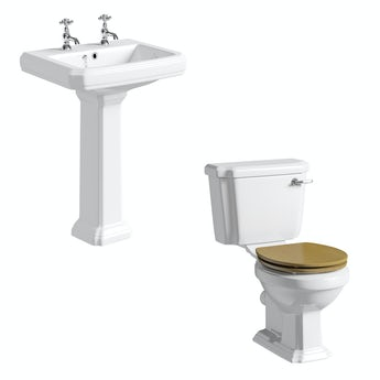The Bath Co. Dulwich cloakroom suite with oak seat and full pedestal basin 600mm