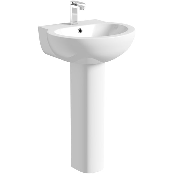 Deco close coupled toilet suite with full pedestal basin 540mm