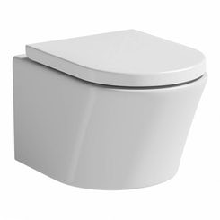 Arc wall hung toilet with luxury soft close toilet seat