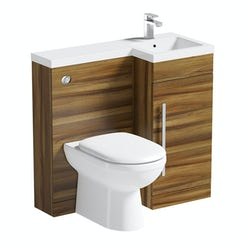 MySpace walnut right handed unit with Autograph back to wall toilet