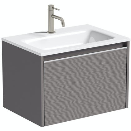 Mode Banks textured lava stone matt wall hung vanity unit and basin 600mm