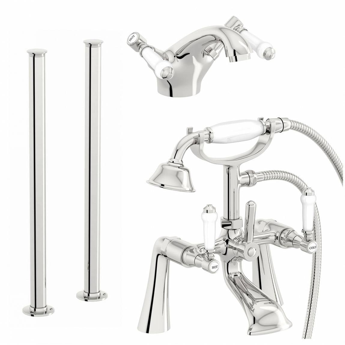 The Bath Co. Winchester basin and freestanding bath shower mixer tap pack