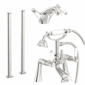 Antonio Basin and Bath Shower Mixer with Standpipe Pack