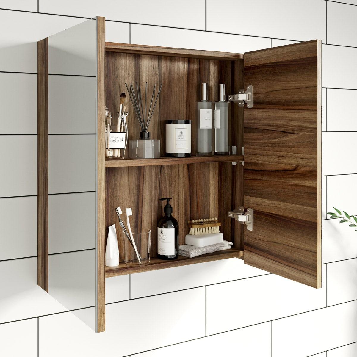 Clarity walnut 2 door bathroom mirror cabinet ...