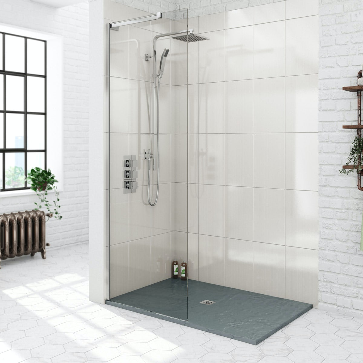 Mode 8mm Walk In Shower Glass Screen With Grey Slate Effect Tray |  VictoriaPlum.com