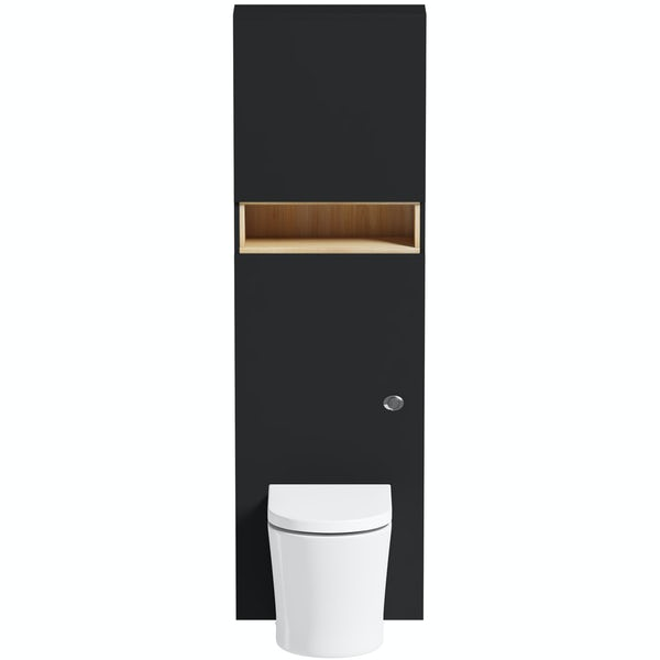 Tate anthracite and oak tall toilet unit with Mode Arte toilet