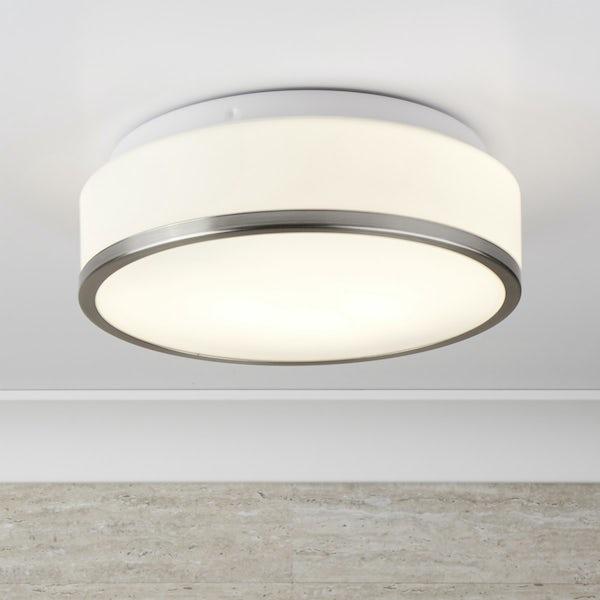 Searchlight Discs satin flush bathroom ceiling light