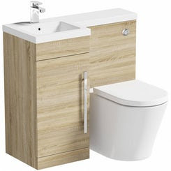 MySpace oak left handed unit with Arc back to wall toilet