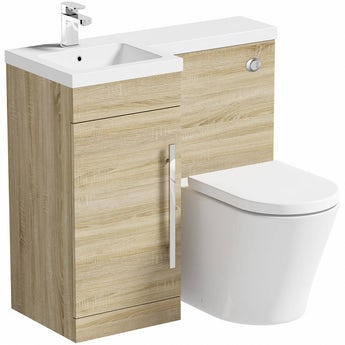 MySpace oak left handed unit with Arte back to wall toilet