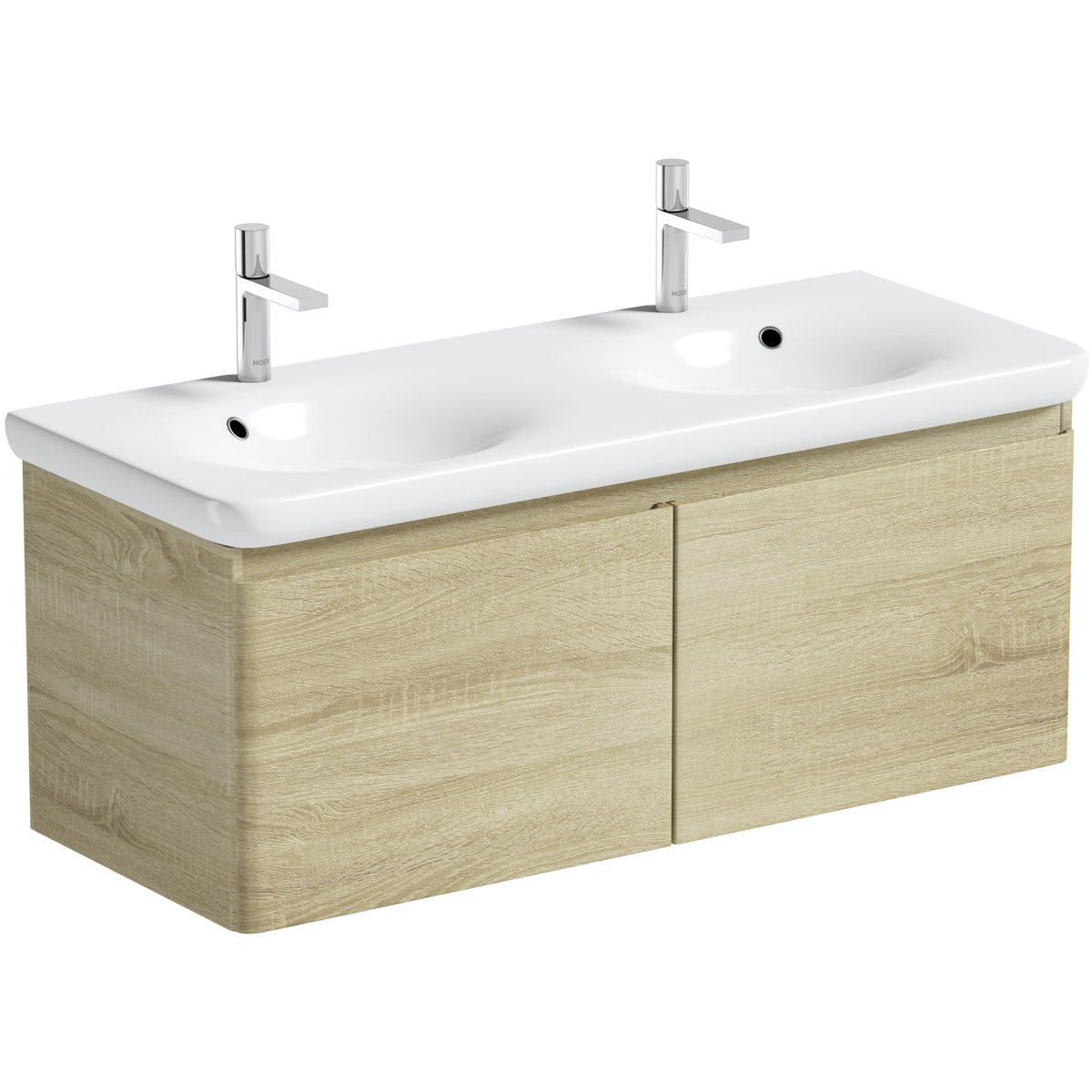 Mode Heath oak wall hung vanity unit and basin 1200mm