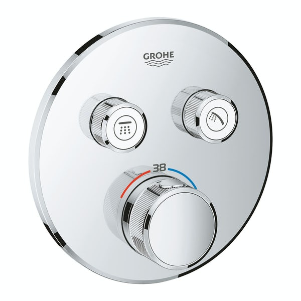 Grohe Grohtherm SmartControl round thermostatic concealed 2 way shower valve trimset