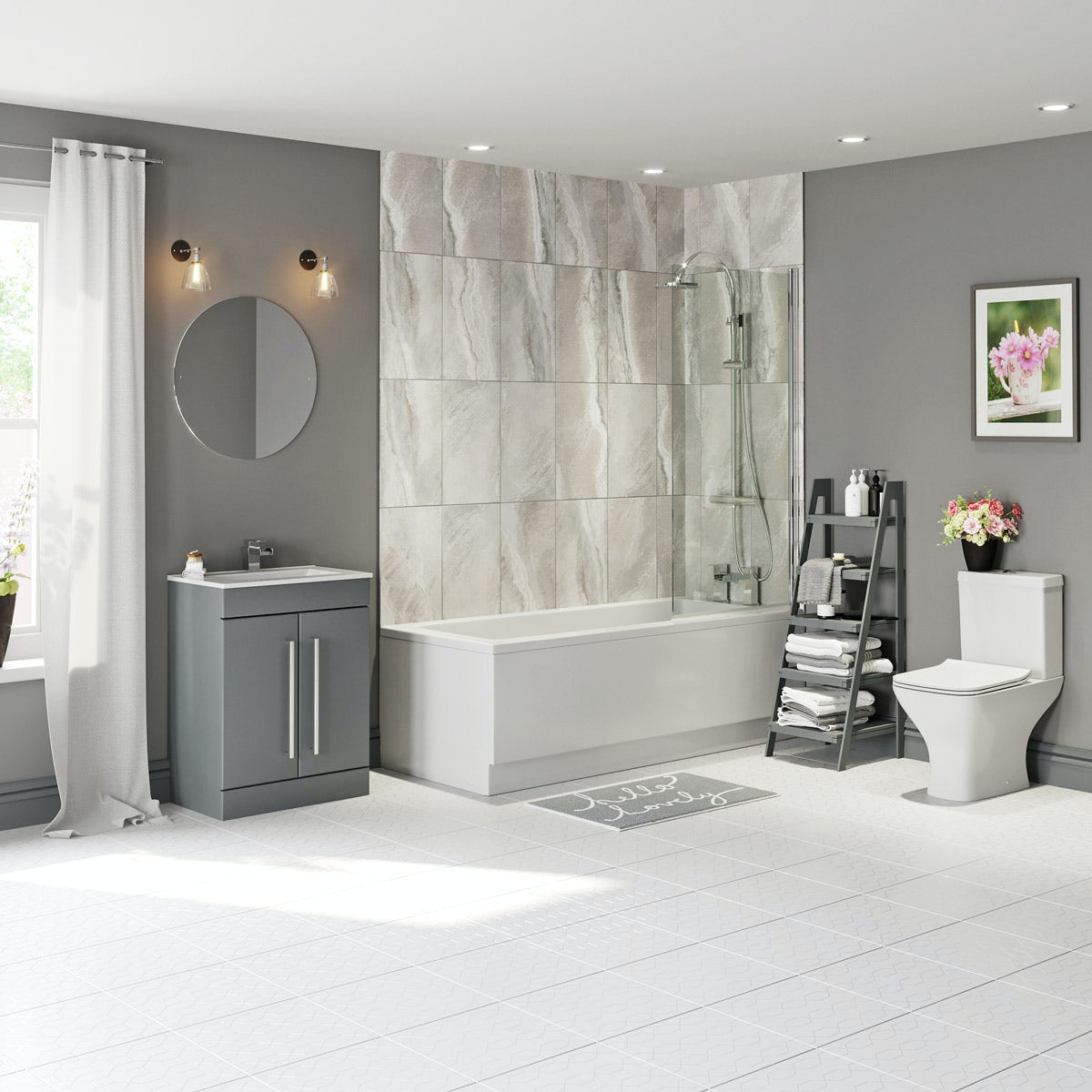 Orchard Derwent square straight shower bath suite