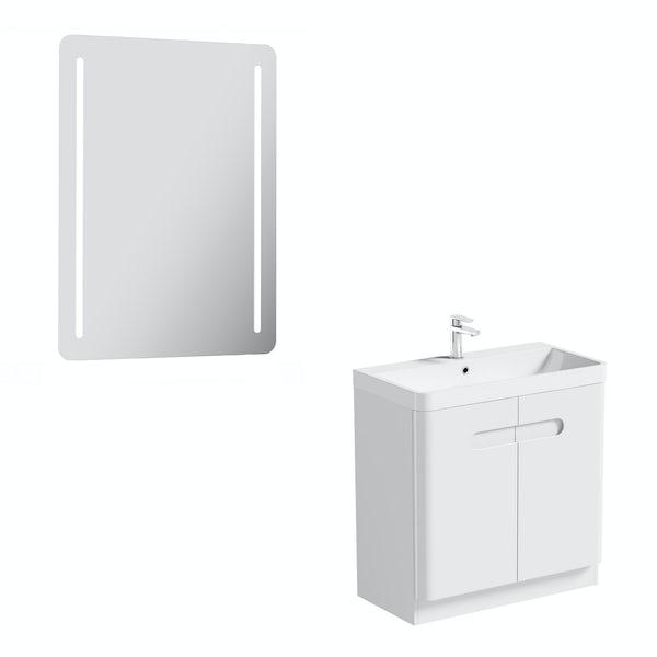 Mode Ellis white vanity door unit 800mm and mirror offer