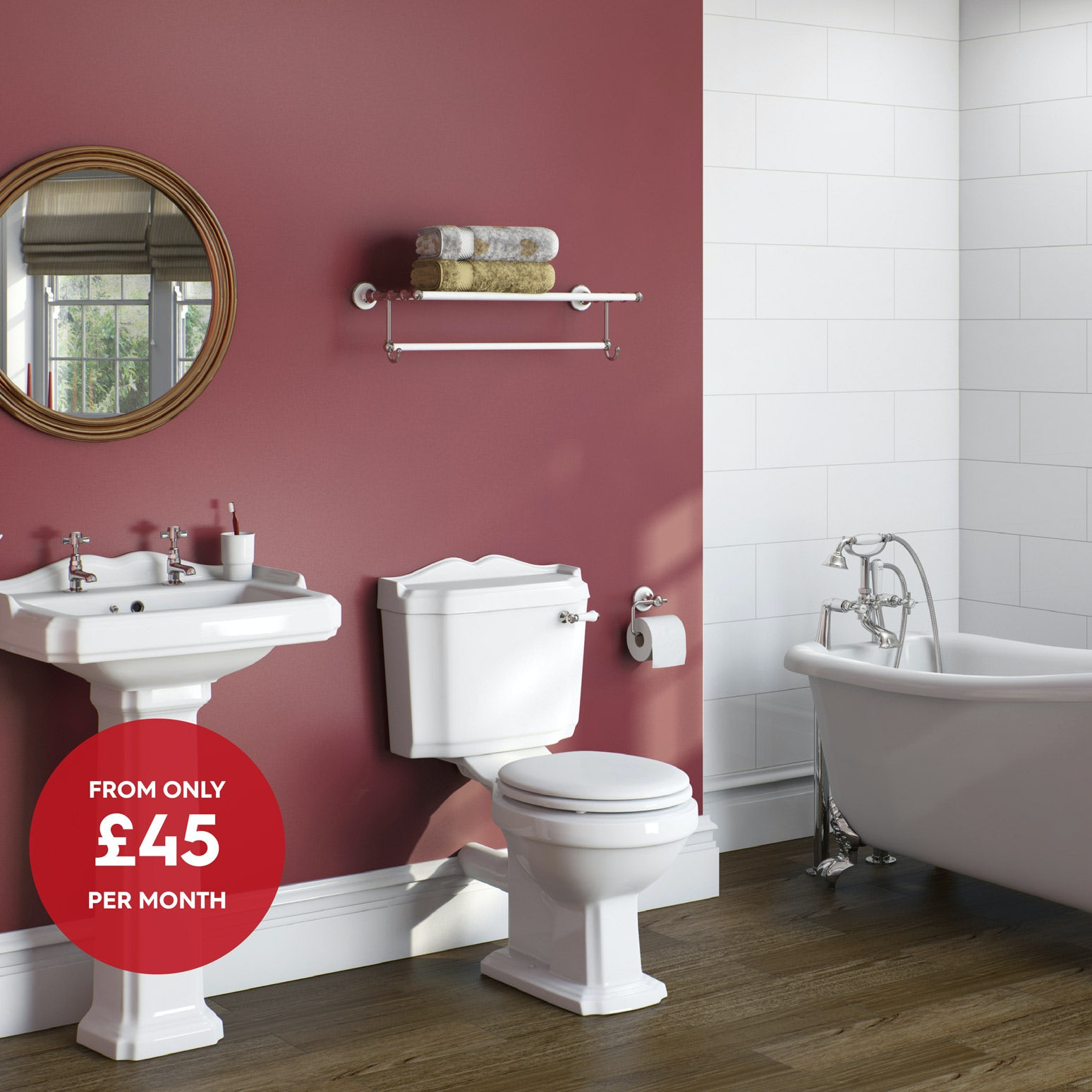 The Bath Co. Winchester complete bathroom suite with roll top bath and taps