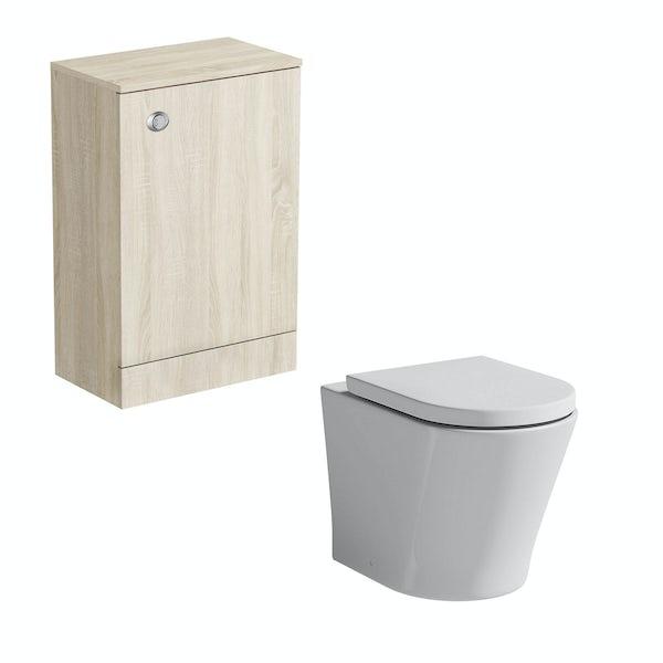 Wye oak back to wall unit with Arte toilet
