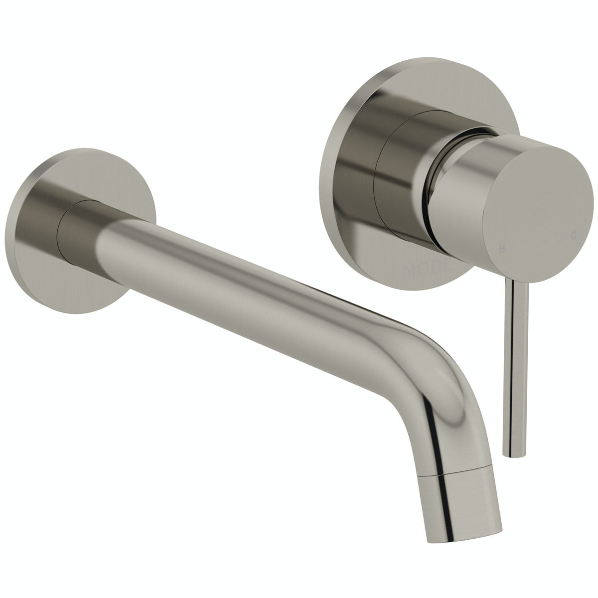 Mode Spencer round wall mounted brushed nickel basin mixer tap