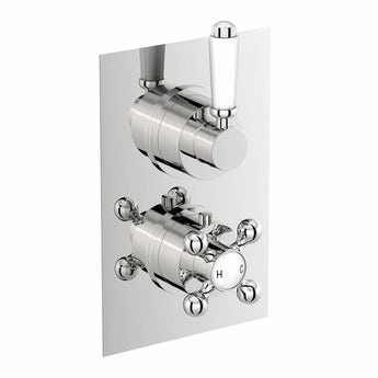 The Bath Co. Traditional square twin thermostatic shower valve offer pack