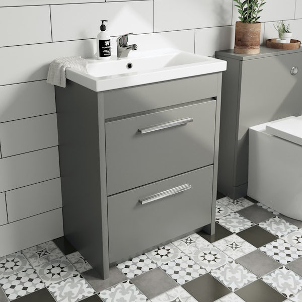 Clarity satin grey vanity unit and basin 600mm