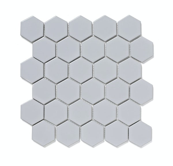 British Ceramic Tile Mosaic Hex White Gloss 300mm X 1 Sheet