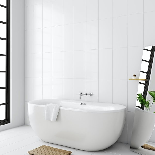 Laura Ashley white satin field white wall tile 248mm x 498mm