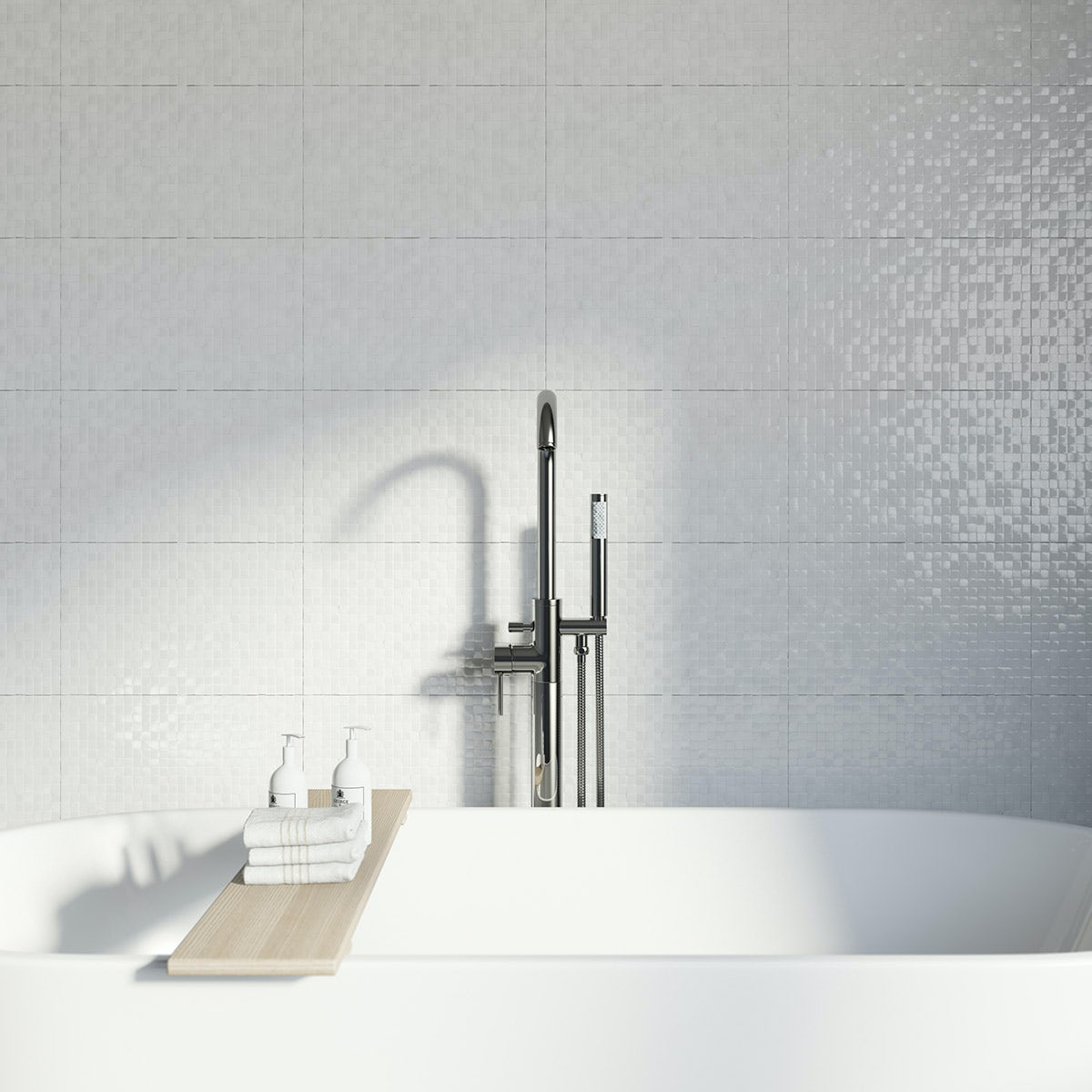 Studio Conran hartland white pressed mosaic tile 248mm x 398mm. Studio Conran Hartland White Pressed Mosaic Tile 248mm x 398mm