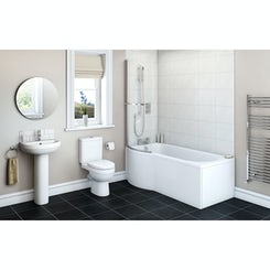 Energy Bathroom Suite with left handed Evesham P shaped shower bath 1675 x 850
