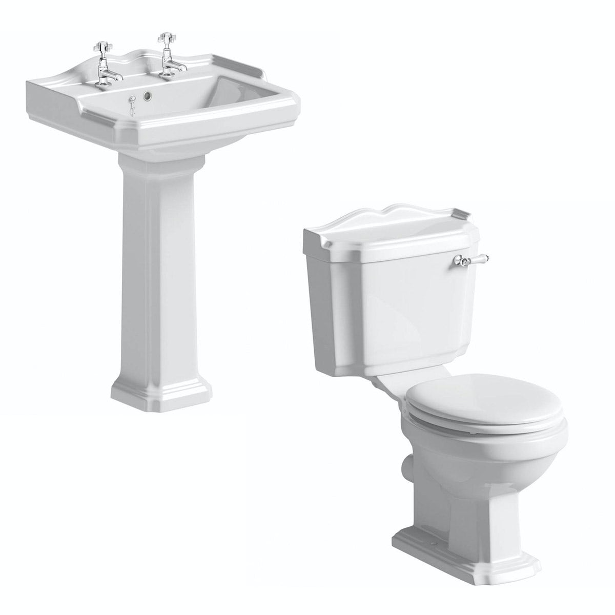 The Bath Co. Winchester close coupled toilet suite with white seat and full pedestal basin 600mm