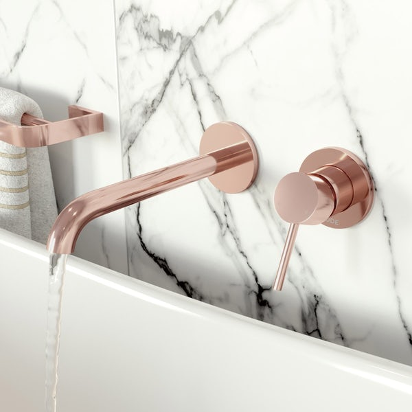 Mode Spencer round wall mounted rose gold bath mixer tap offer pack