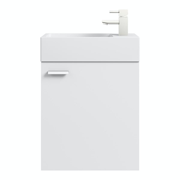 Clarity white wall hung cloakroom unit with resin basin 410mm