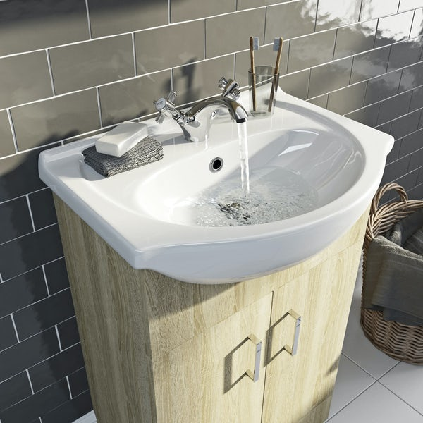 Eden oak vanity unit and basin 550mm