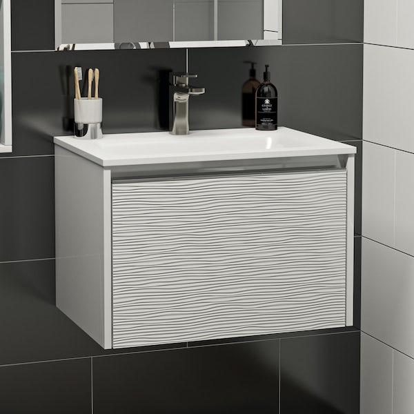 Mode Banks textured matt white wall hung vanity unit and basin 600mm