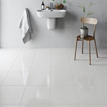 British Ceramic Tile Linear white gloss tile 331mm x 331mm