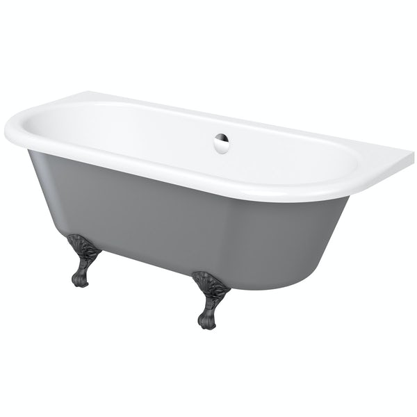 The Bath Co. Dulwich grey back to wall roll top bath with black ball and claw feet 1700 x 750