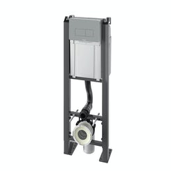 Chrono wall hung toilet mounting frame with white push plate