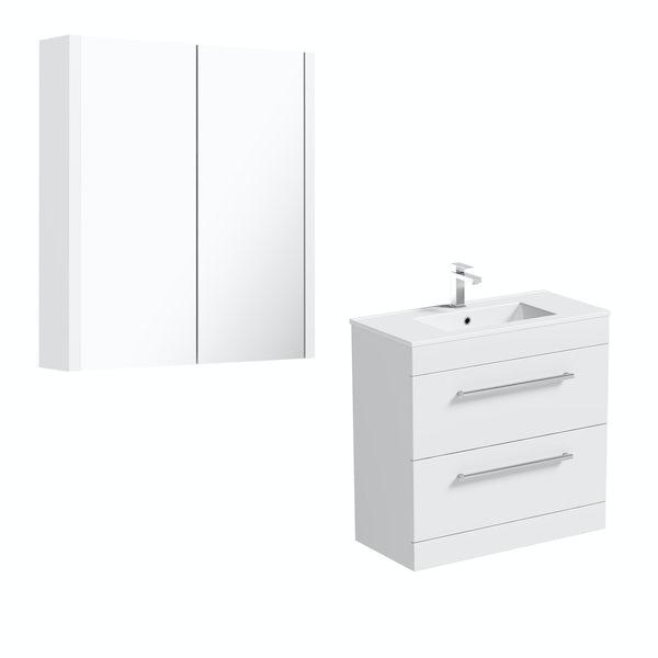 Orchard Derwent white floor drawer unit 800mm and mirror
