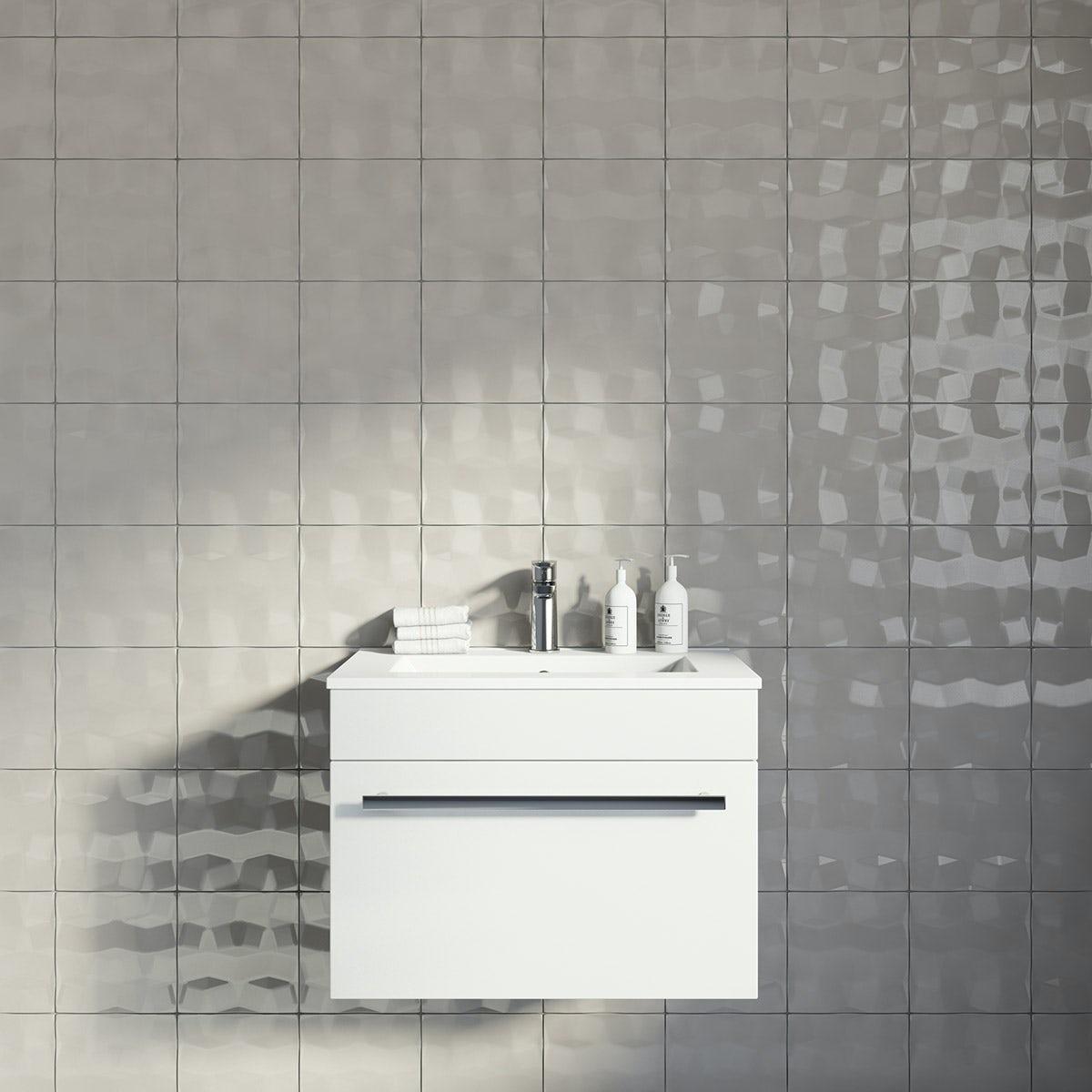 Studio Conran Facet Putty Gloss Tile 198mm x 198mm VictoriaPlumcom