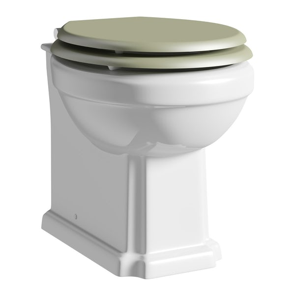 The Bath Co. Camberley back to wall toilet with sage soft close seat and concealed cistern
